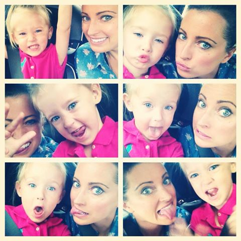 Being silly in the car on the way to Aunt Dawn's!